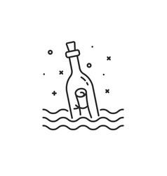 Black message bottle thin line icon vector