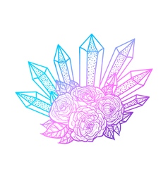 Blackwork tattoo rose and crystals bouquet very vector