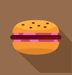 Burger with red onion meat patty and bun icon vector