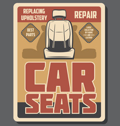 car seats repair service upholstery replacing vector image