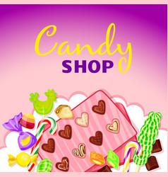 caramel candy shop concept background cartoon vector image
