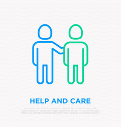 Care about friend man holding shoulder other vector