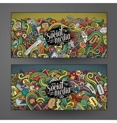 Cartoon doodles internet banners vector image