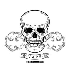 Cartoon skull vaping isolated vector