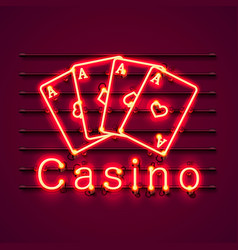 casino neon signboard text banner vector image
