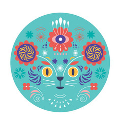 cat head and flowers vector image