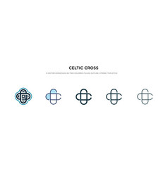 Celtic cross icon in different style two colored vector
