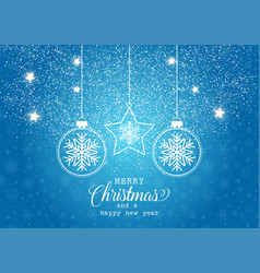 christmas background with hanging baubles vector image