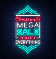 Christmas sale template design in neon style neon vector