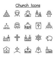 church icons set in thin line style vector image