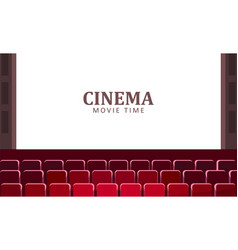Cinema hall with wide screen and red rows vector