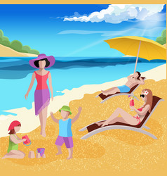 Coastal paradise beach composition vector