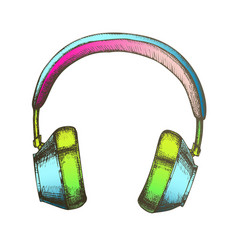 Color hipster accessory wireless headphones ink vector