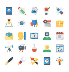 Creative process flat icons set vector