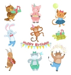 Cute Animal Characters Attending Birthday Party vector