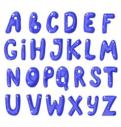 Cute cartoon english blue alphabet vector