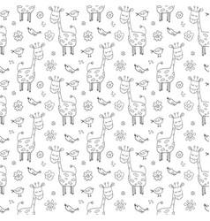 cute giraffe seamless pattern cartoon hand drawn vector image