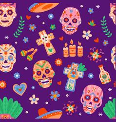 Day dead seamless pattern dia de los muertos vector