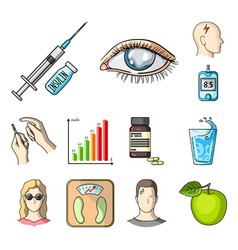 Diabetes cartoon icons in set collection for vector