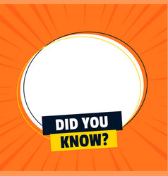 Did you know banner with text space vector
