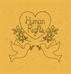 Doves flying with heart human rights drawns vector
