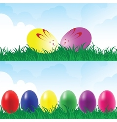 Easter eggs in a grassland vector image