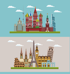 European beautiful cityscapes vector