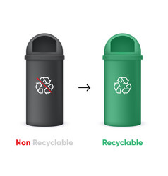 evolution from non recyclable to recycling garbage vector image