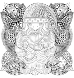 Fancy Santa on Christmas balls wreath in zentangle vector image
