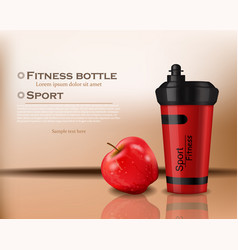 fitness bottle realistic 3d detailed vector image