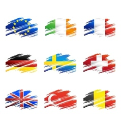 Flags in the form traces brush vector