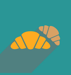 flat web icon with long shadow croissants vector image