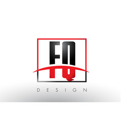 Fq f q logo letters with red and black colors vector