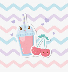 Fresh cherries sorbet with straw kawaii character vector