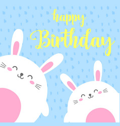 funny cartoon card with hare happy birthday vector image