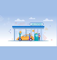 gas station cartoon car refill vector image