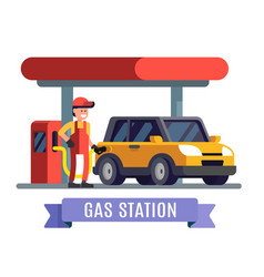 Gas station worker filling up fuel into car vector