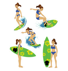 girl character surfing set vector image