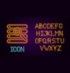 Glowing neon line search in a browser window icon vector