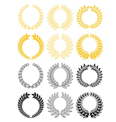 Gold and black laurel wreaths vector