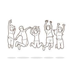 Group children jumping happy feel good cartoon vector