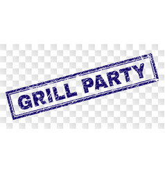 Grunge grill party rectangle stamp vector
