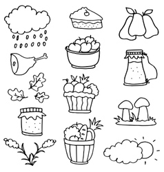 Hand draw stock thanksgiving on doodles vector