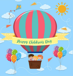 Happy childrens day poster with kids riding vector