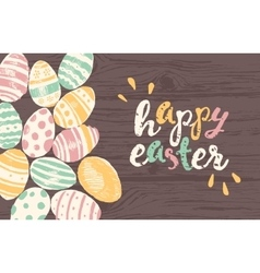 Happy Easter greeting card eggs vector image