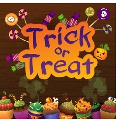 Happy halloween trick or treat greeting card whit vector