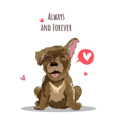 Happy valentines day words with lovely dog vector