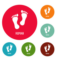 Human step icons circle set vector