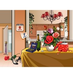 Interior room with dinner table for a holiday vector