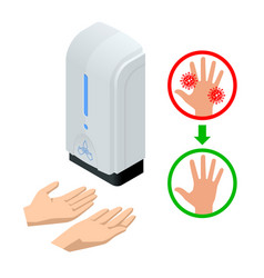 Isometric automatic alcohol hand sanitizer vector